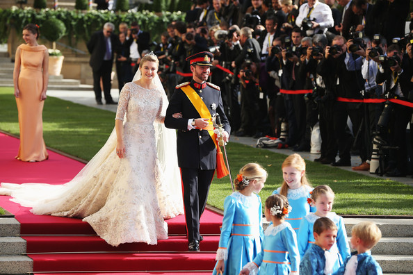 Princess Stephanie of Luxembourg and Prince Guillaume of Luxembourg depart the church after the wedding ceremony of Prince Guillaume Of Luxembourg and Princess Stephanie of Luxembourg at the Cathedral of our Lady of Luxembourg on October 20, 2012 in Luxembourg, Luxembourg. The 30-year-old hereditary Grand Duke of Luxembourg is the last hereditary Prince in Europe to get married, marrying his 28-year old Belgian Countess bride in a lavish 2-day ceremony.