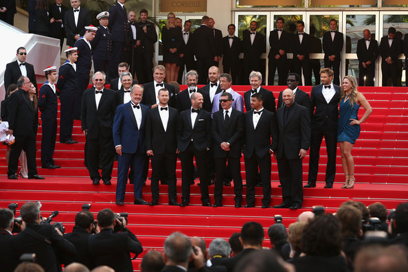 """The Expendables 3"" Premiere - The 67th Annual Cannes Film Festival [the expendables 3,red carpet,event,red,team,crowd,carpet,formal wear,flooring,choir,uniform,patrick hughes,actors,actors,dolph lundgren,r,ronda rousey,top 2ndl,cannes film festival,premiere]"