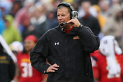 Head coach Randy Edsall of the Maryland Terrapins looks on from the sidelines during the first half of their 37-0 win over the West Virginia Mountaineers at M&T Bank Stadium on September 21, 2013 in Baltimore, Maryland.