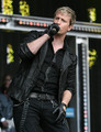 Kian Egan of Westlife performs at Newbury Races during Ladies Day at Newbury racecourse on August 14, 2010 in Newbury, England