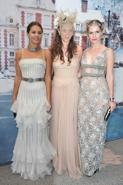 (L-R) Margherita Missoni, Tatiana Santo Domingo and  Eugenie Niarchos attend 'The White Fairy Tale Love Ball' in Support Of 'The Naked Heart Foundation' at Chateau De Wideville on July 6, 2011 in Crespieres, France.