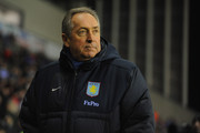 Villa manager Gerard Houllier looks on before the Barclays Premier League match between Wigan Athletic and Aston Villa at the DW Stadium on January 25, 2011 in Wigan, England.