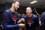 Anthony Rizzo #44 of the Chicago Cubs and Kris Bryant #17 celebrate in the locker room after defeating the Pittsburgh Pirates in the National League Wild Card game at PNC Park on October 7, 2015 in Pittsburgh, Pennsylvania.