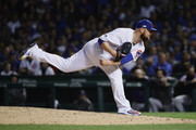 Jon Lester #34 of the Chicago Cubs pitches in the sixth inning against the Colorado Rockies during the National League Wild Card Game at Wrigley Field on October 2, 2018 in Chicago, Illinois.