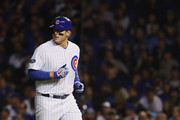 Anthony Rizzo #44 of the Chicago Cubs runs back to the dugout after grounding out in the fourth inning against the Colorado Rockies during the National League Wild Card Game at Wrigley Field on October 2, 2018 in Chicago, Illinois.