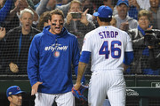 Pedro Strop #46 of the Chicago Cubs celebrates with Anthony Rizzo #44 after striking out Ian Desmond #20 of the Colorado Rockies (not pictured) in the ninth inning during the National League Wild Card Game at Wrigley Field on October 2, 2018 in Chicago, Illinois.