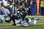 Jimmy Graham #88 of the Seattle Seahawks is tackled during the second half against the Detroit Lions in the NFC Wild Card game at CenturyLink Field on January 7, 2017 in Seattle, Washington.