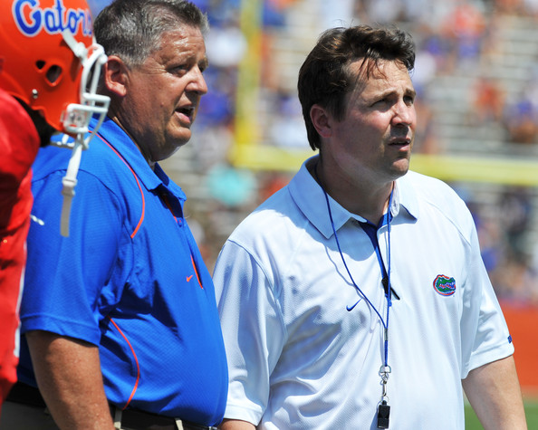 Will Muschamp Coach Will Muschamp and offensive coordinator Charlie Weis of the Florida Gators direct play during the Orange and Blue spring football game April 9, 2010 Ben Hill Griffin Stadium in Gainesville, Florida.