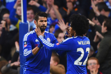 Willian Diego Costa Chelsea v Scunthorpe United - The Emirates FA Cup Third Round