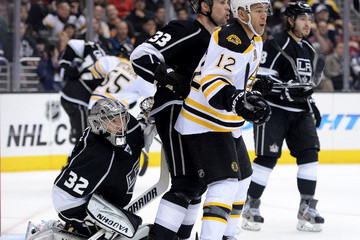 Willie Mitchell Jonathan Quick Boston Bruins v Los Angeles Kings