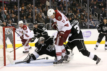 Willie Mitchell Jonathan Quick Phoenix Coyotes v Los Angeles Kings