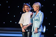 (L-R) Ella Endlich and Carmen Nebel perform on stage during the tv show 'Willkommen bei Carmen Nebel' at Tempodrom on April 7, 2016 in Berlin, Germany.