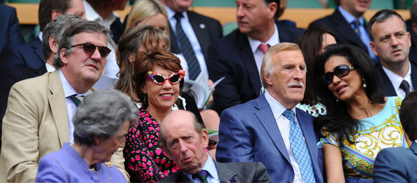 Wimbledon Tennis Championships: Day 3 [people,facial expression,event,crowd,photography,bodyguard,audience,family pictures,photobombing,selfie,bruce forsyth,prince edward,susan hussey,stephen fry,wilnelia forsyth,kathy lette,ladies singles,kent,wimbledon,match]