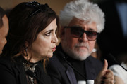 Jury member Agnes Jaoui and jury president Pedro Almodovar attend the Palme D'Or winner press conference during the 70th annual Cannes Film Festival at Palais des Festivals on May 28, 2017 in Cannes, France.