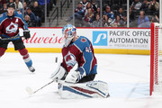 Goaltender Jonathan Bernier #45 of the Colorado Avalanche makes a save against the Winnipeg Jets at the Pepsi Center on  January 2, 2018 in Denver, Colorado.