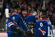 Matt Duchene #9 of the Colorado Avalanche celebrates his goal against the Winnipeg Jets with teammates Jan Hejda #8 and Alex Tanguay #40 of the Colorado Avalanche to tie the score 1-1 on in the second period at Pepsi Center on December 11, 2014 in Denver, Colorado.