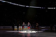 Brandon Dubinsky #17 of the Columbus Blue Jackets is spotlit while being introduced to the crowd prior to the start of the game against the Winnipeg Jets on April 6, 2017 at Nationwide Arena in Columbus, Ohio.