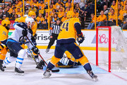 Paul Stastny #25 of the Winnipeg Jets scores a goal against Mattias Ekholm #14 of the Nashville Predators during the second period in Game One of the Western Conference Second Round during the 2018 NHL Stanley Cup Playoffs at Bridgestone Arena on April 27, 2018 in Nashville, Tennessee.