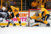 Paul Stastny #25 of the Winnipeg Jets scores a goal against goalie Pekka Rinne #35 of the Nashville Predators during the first period in Game Seven of the Western Conference Second Round during the 2018 NHL Stanley Cup Playoffs at Bridgestone Arena on May 10, 2018 in Nashville, Tennessee.