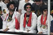 Vegas Golden Knights fans wear Elvis Presley costumes during Game Four of the Western Conference Finals between the Winnipeg Jets and the Golden Knights during the 2018 NHL Stanley Cup Playoffs at T-Mobile Arena on May 18, 2018 in Las Vegas, Nevada. The Golden Knights won 3-2.