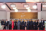 (L-R) Actress Demet Akbag, guest, writer Ebru Ceylan, director Nuri Bilge Ceylan, Actor Haluk Bilginer, actress Melisa Sozen and actor Nejat Isler attend  the 'Winter Sleep' premiere during the 67th Annual Cannes Film Festival on May 16, 2014 in Cannes, France.
