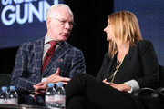 Tim Gunn, host and Executive Producer, and Sara Rea, Executive Producer, speak onstage during the 'Lifetime - Under the Gunn' panel discussion at the Lifetime/A&E Network' portion of the 2014  Winter Television Critics Association tour at the Langham Hotel on January 9, 2014 in Pasadena, California.