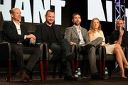 (L-R) Howard Gordon, Executive Producer/Showrunner, Gideon Raff, Executive Producer/Creator, actors Adam Rayner, Jennifer Finnigan and Ashraf Barhom of the television show 'Tyrant' onstage during the FX portion of the 2014 Television Critics Association Press Tour at the Langham Hotel on January 14, 2014 in Pasadena, California.