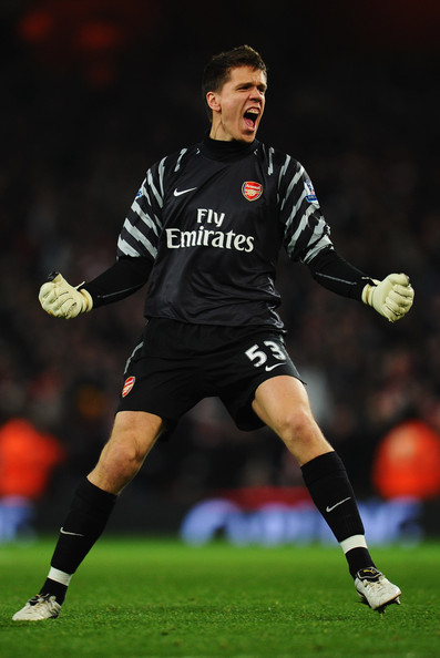 Wojciech Szczesny Wojciech Szczesny of Arsenal celebrates during the Carling Cup Semi Final Second Leg match between Arsenal and Ipswich Town at Emirates Stadium on January 25, 2011 in London, England.