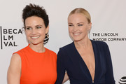 """Actresses Carla Gugino (L) and Malin Akerman attend """"Wolves"""" Premiere - 2016 Tribeca Film Festival at SVA Theatre 1 on April 15, 2016 in New York City."""