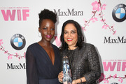 (L-R) Actress Lupita Nyong'o (L) and director and The BMW Dorothy Arzner Directors Award Honoree Mira Nair, both wearing Max Mara, attend the Women In Film 2017 Crystal + Lucy Awards presented By Max Mara and BMW at The Beverly Hilton Hotel on June 13, 2017 in Beverly Hills, California.
