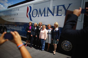 "(L-R) Ellen Herzfelder, Rep. Sandy Adams (R-FL), former Lt. Governor Kerry Healey, Rep. Ileana Ros-Lehtinen (R-FL), Sharon Kingman and RNC Co-Chair Sharon Day pose for pictures before getting on the bus during the Women for Mitt kick-off of a ""Stronger Middle Class"" Bus Tour of South Florida  on September 17, 2012 in Miami, Florida.  The bus tour is scheduled to stop at events at women-owned businesses in Miami, Ft. Lauderdale, and Boca Raton as the Romney campaign tries to gather more support from women."