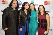 (L-R) Executive Producer and Curator of TEDxUNPlaza, Chairmen of WED Fellows Accelerator Kunal Sood, Kristen Anderson-Lopez, Women's Entrepreneurship Day Founder and CEO Wendy Diamond and NFL coach Jen Welter pose for a photo at the Pioneer awards Luncheon during Women's Entrepreneurship Day at the United Nations on November 19, 2015 in New York City.