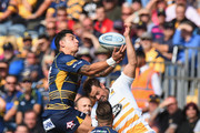 Bryce Heem of Worcester Warriors and Rob Miller of  Wasps jump for a high ball during the Gallagher Premiership Rugby match between Worcester Warriors and Wasps at Sixways Stadium on September 1, 2018 in Worcester, United Kingdom.