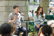 Actors Jason Biggs (L) and wife/author Jenny Mollen speak to a crowd at the 'Word For Word' author event with Jason Biggs and Jenny Mollen on June 18, 2014 in New York, United States.