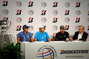 (L-R) Henrik Stenson of Sweden, Byeong-Hun An of South Korea, Matt Kuchar of the USA and Ty Votaw, Vice President of the International Golf Federation speak to the media during an Olympic Golf press conference at the World Golf Championship - Bridgestone Invitational at Firestone Coutry Club on August 5, 2015 in Akron, Ohio.