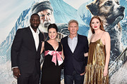 """Omar Sy, Cara Gee, Harrison Ford and Karen Gillan arrive at the World Premiere of 20th Century Studios' """"The Call of the Wild"""" at the El Capitan Theatre on February 13, 2020 in Hollywood, California. The film releases on Friday, February 21, 2020."""