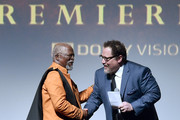 """John Kani and Director/producer Jon Favreau attend the World Premiere of Disney's """"THE LION KING"""" at the Dolby Theatre on July 09, 2019 in Hollywood, California."""