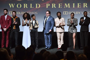 """(L-R) Billy Eichner, Seth Rogen, Shahadi Wright Joseph, JD McCrary, Director/Producer Jon Favreau, Donald Glover, Beyonce Knowles-Carter, and Chiwetel Ejiofor attend the World Premiere of Disney's """"THE LION KING"""" at the Dolby Theatre on July 09, 2019 in Hollywood, California."""