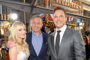 """(L-R) Actor Anna Faris, Chief Executive Officer of Disney Bob Iger and actor Chris Pratt at The World Premiere of Marvel Studios' """"Guardians of the Galaxy Vol. 2."""" at Dolby Theatre in Hollywood, CA April 19th, 2017"""