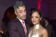 """Director Taika Waititi (L) and actor Tessa Thompson at The World Premiere of Marvel Studios' """"Thor: Ragnarok"""" at the El Capitan Theatre on October 10, 2017 in Hollywood, California."""