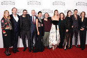 "(2nd L-R) Hugo Weaving, Christian Rivers,  Stephen Lang, Jihae, Peter Jackson, Leila George, Philippa Boyens, Hera Hilmar, Robert Sheehan and Deborah Forte attend the World Premiere of ""Mortal Engines"" at Cineworld Leicester Square on November 27, 2018 in London, England."