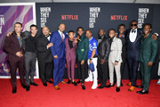 "(L-R) Freddy Miyares, Marquis Rodriguez, Raymond Santana Jr., Kevin Richardson, Asante Blackk, Ava DuVernay, Cindy Holland, Jharrel Jerome, Korey Wise, Antron Mccray, Caleel Harris, Ethan Herisse, Yusef Salaam, Chris Chalk attend the World Premiere of Netflix's ""When They See Us"" at the Apollo Theater on May 20, 2019 in New York City."