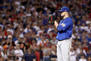 Jon Lester #34 of the Chicago Cubs stands on the pitcher's mound during the eighth inning against the Cleveland Indians in Game Seven of the 2016 World Series at Progressive Field on November 2, 2016 in Cleveland, Ohio.