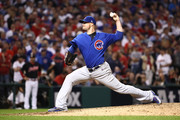 Jon Lester #34 of the Chicago Cubs throws a pitch during the eighth inning against the Cleveland Indians in Game Seven of the 2016 World Series at Progressive Field on November 2, 2016 in Cleveland, Ohio.