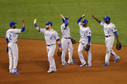 The Kansas City Royals celebrate the 3-2 victory against the San Francisco Giants during Game Three of the 2014 World Series at AT&T Park on October 24, 2014 in San Francisco, California.