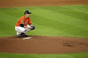 Zack Greinke #21 of the Houston Astros prepares to pitch against the Washington Nationals during the third inning in Game Seven of the 2019 World Series at Minute Maid Park on October 30, 2019 in Houston, Texas.