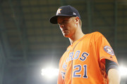 Zack Greinke #21 of the Houston Astros looks on prior to Game Seven of the 2019 World Series against the Washington Nationals at Minute Maid Park on October 30, 2019 in Houston, Texas.