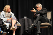 """Roseanne Barr and moderator David Suissa  participate in """"Is America a Forgiving Nation?,'' a Yom Kippur eve talk on forgiveness hosted by the World Values Network and the Jewish Journal at Saban Theatre on September 17, 2018 in Beverly Hills, California."""