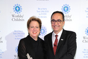 President of U.S. Fund for UNICEF Caryl Stern and Founder, LOSEV Foundation for Children with Leukemia Dr. Ustin Ezer  attend World of Children Awards 2017 at 583 Park Avenue on November 2, 2017 in New York City.