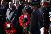 Leader of the Labour Party Jeremy Corbyn and British Prime Minister Theresa May stand with their wreaths during the annual Remembrance Sunday memorial on November 11, 2018 in London, England. The armistice ending the First World War between the Allies and Germany was signed at Compiègne, France on eleventh hour of the eleventh day of the eleventh month - 11am on the 11th November 1918. This day is commemorated as Remembrance Day with special attention being paid for this year's centenary.